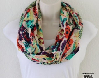 ON SALE Multi Colored Feathers Print Onion Skin Knit Infinity Scarf, Double Wrap Around Scarf, Loop Scarf