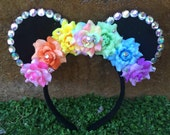 Pre-order Pastel Rainbow Rose Floral Mouse Ears with little rhinestones