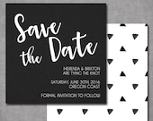 Modern Black and White Save the date Printable Wedding Invitation OR Printed Card