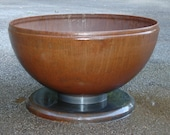 """30"""" Fire Pit Small Deep Bowl with Pedestal Base - Industrial Style - Hemispherical Shape"""