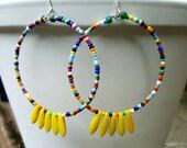 Multicolored Beaded Hoop Earrings, Beaded Hoop Earrings, Yellow Hoop Earrings, Hoop Earrings
