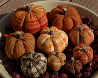 Primitive Fall Thanksgiving, Homespun Pumpkin Ornies, Mixture of Prints #2