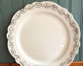 Elaine Dinner Plates, Silver Grey Floral, Virginia Rose by Homer Laughlin, 1941