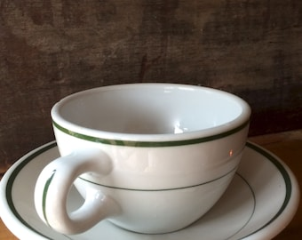 Coffee Cup and Saucer with Classic Double Green Stripes, Restaurant Ware by Shenango ca. 1959
