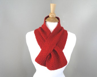 Red Keyhole Scarf, Pull Through, Merino & Cashmere, Short Small Neck Scarf, Hand Knit, Neckwarmer