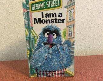 Vintage Book, I am A Monster, Sesame Street Golden Sturdy Book