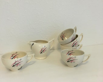 Vintage Flair Cup Set, Punk and Silver, Mid Century Modern Dishes, Tea Set, Atomic Design