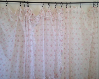 Vintage Curtains, White Pink Curtains, Sheer Curtain, Vintage Ruffle Curtains, Vintage Curtain Set, Sheer Drapes