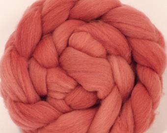 Organic Polwarth Roving (Top)- Madder, Logwood - Naturally Dyed  Spinning or Felting Fiber - 4.5 oz.