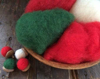 Needle Felting Wool - Happy Holidays Wool Sampler-Wet Felting Wool