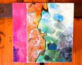 SOLD -- Original Art// zen // abstract// magenta// wood panel// thread// sew