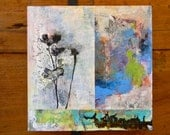Flowers// Abstract // blue// gray // original painting