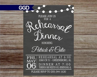 Chalkboard Rehearsal Dinner Invitation, rehearsal and dinner invite, wedding rehearsal dinner invitation, printed rehearsal dinner invite