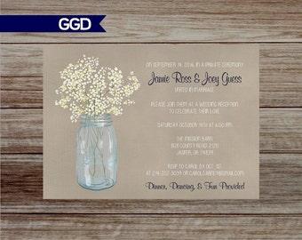 Country Wedding Reception Invitation, Mason Jar invite, Reception Only Invitation-Printed Invitations or Digital File
