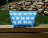 Medium Makeup Bag, White Elephants on Blue, Travel Bag, Canvas Bag, One of a Kind