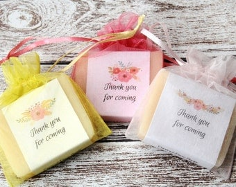 Primrose Floral Soap Favors For Shower With Organza Bags 100% Natural Cold Processed