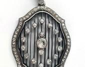 Edwardian Sterling Silver Diamond Paste Pendant Necklace