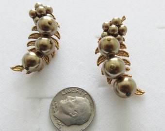 Vintage ~ MIRIAM HASKELL(?) ~ Pair of EARRINGS ~ Gold Tone with Chocolate-Colored Faux Pearls ~ Must See