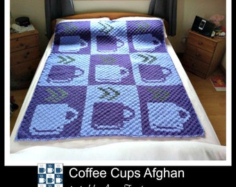 C2C Graph, Coffee Cup C2C, Coffee Cups Afghan, C2C Graph, Written Word Chart, coffee graph, c2c coffee