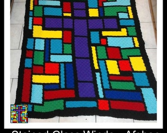 Stained Glass Cross Afghan, C2C Graph, and Word Chart