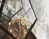 MOONCHILD : custom monagram initial hand stamped crescent golden moon necklace