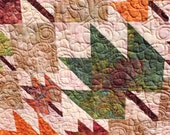 Autumn Leaves- Queen Size- Batik Quilt - Earth Tones