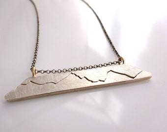 Mountain Necklace, Mountain Bar Necklace, Mountain Jewelry, handmade in Recycled Sterling Silver & 14k Gold, Mountain Bar Necklace