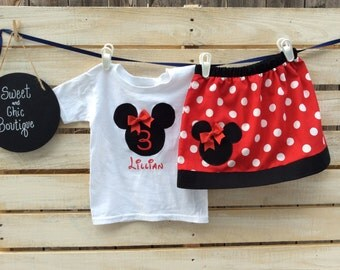 Minnie Mouse Birthday Outfit, Birthday Outfit, Minnie Mouse T shirt, Minnie Mouse Skirt