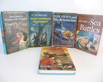 Set of 5 Kids Vintage Books - The Hardy Boys 10 - 12 - 39, Tom Swift, Sea Battles 1950s - 1960s