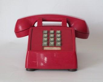 Vintage Cherry Red Desk Phone