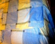 King Flannel sheets Blue Plaid w Pillow case
