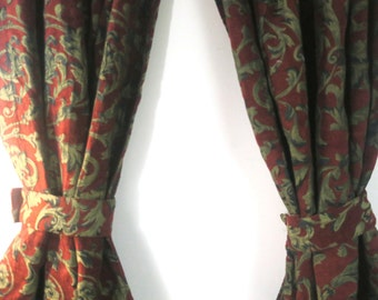 "Drapes, French Toile Burgundy Velvet 2 Panels w Tie backs Curtains for Royalty 60 "" w x 80"" ea"