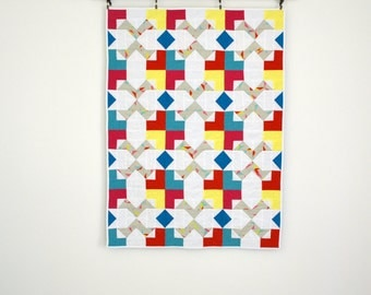 Geometric Baby Quilt, Modern Baby Quilt, Gender Neutral Baby Bedding, Baby Quilt