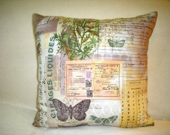 Butterfly Pillow Cover Tim Holtz Wallflower Flowers Receipts Letters Musical Notes Script Black Green Pink Cream Lavender White