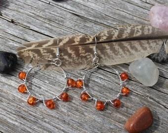 Boho Orange Glass Beaded Hoop Earrings. Gypsy Hippie Bohemian Statement Earrings. Wire Wrapped, Silver Plated, Handmade Crackle Glass.