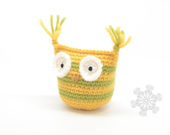 SALE!! Cute Baby Owl - Yellow and Green Plush Owl Rattle