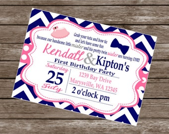 BOWTIES and TUTUS TWINS Happy Birthday Party or Baby Shower Invitations Set of 12 {1 Dozen}