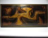 Signed Bernhard Rohne Abstract Industrial Metal Wall Art Relief Sculpture Panel