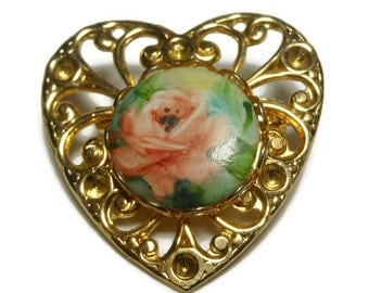 Heart brooch, gold filigree heart with inset hand painted cabochon of a pink orange rose, small sweet pin, lapel pin, flower floral brooch