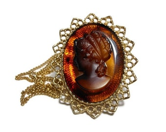 Glass cameo pendant brooch, carved glass root beer brown cameo necklace pin, gold filigree frame, take off chain for brooch pin
