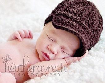Baby Newsboy Beanie, Newborn Hat with Brim, OVERSTOCK SALE, SIZE 1-3 months