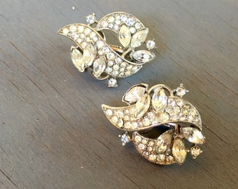 Vintage Art Deco Trifari Earrings Rhinestone Bridal Jewelry Gift for Her Alfred Philippe 1950s
