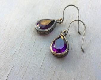 Amethyst Teardrop Earrings Sterling silver dangle earrings genuine gemstones