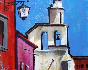 "Original painting of white Mexican church in San Miguel de Allende art decor acrylic on board 11 ""x 14"""