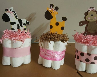 3 girl mini diaper cakes, baby shower centerpiece Monkey Giraffe and Zebra