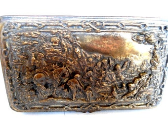 Victorian Silver Plated Jewelry Casket with Intricate Silver Work Stories Marked JB