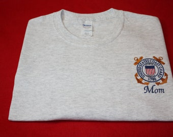 Embroidered T shirt USCG  United States Coast Guard T shirt (sweatshirts are also available read listing)