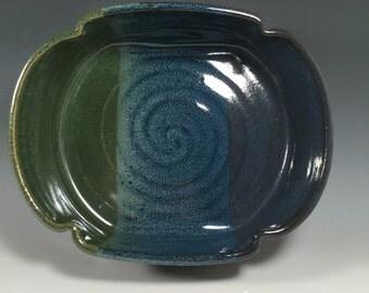 Pottery casserole dish - ceramic baking pan - Monet Blue Green - 1.5 quart casserole - 48oz. Baking dish - ceramics - pottery - stoneware