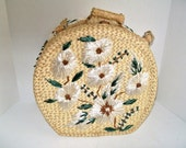 RESERVED FOR PLOY Vintage Straw Embroidered Bag White Daisy Straw Embroidery Woven Bag Overnight Tote Cosmetic Knitting