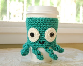 Octopus Coffee Cozy, Crocheted Coffee Cozy, Cute Crocheted Animals, Animal Coffee Cozy, Cute Octopus, Teal Coffee Cozy, Sea Creatures
